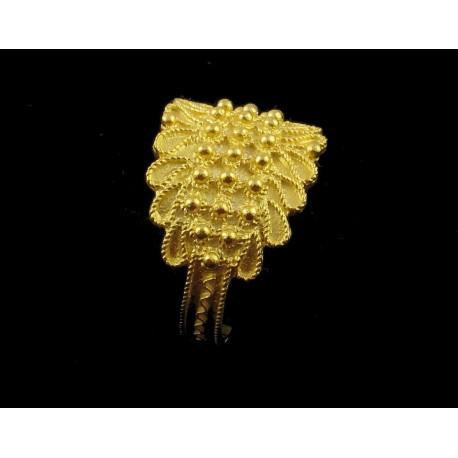 Anillo de Cerdeña, de plata dorada, filigrana, 3 hilos