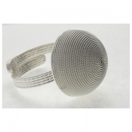 Ring filigree silver half-sphere