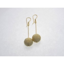 Earrings silver filigree golden silver thread