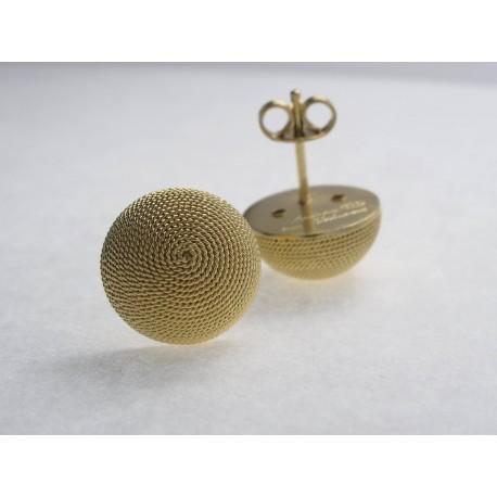 Button earrings, Sardinian filigree, gilt