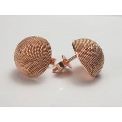 Orecchini bottone filigrana sarda, argento rosa