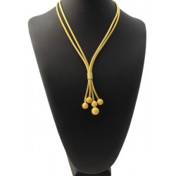 Golden necklace, plated, with pending balls