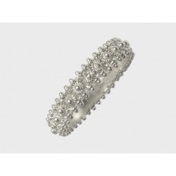Sardinian ring white gold band , rhodium. One thread