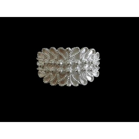 Fedina sarda in argento Gioiello sardo - due fili a foglia