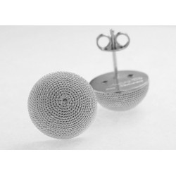 Filigree button earrings, silver half-sphere
