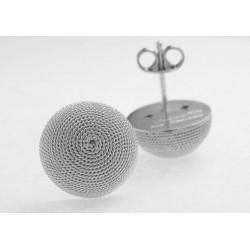 Pendientes botón de marca de agua, media esfera de plata