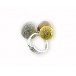 Sardinian filigree ring with colored silver balls
