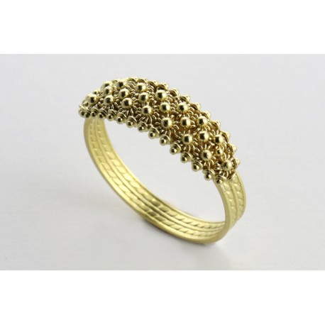 Sardinian Ring honeycomb, yellow gold filigree wire 2