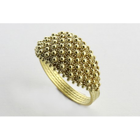 Sardinian wedding ring yellow gold 4-wire honeycomb