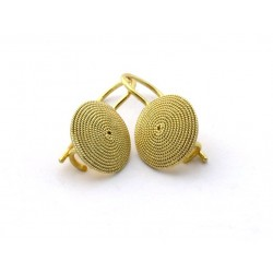 Gold Earrings, Sardinian filigree corbula, a fish hook