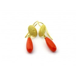 Sardinian filigree earrings, corbula, gold and coral