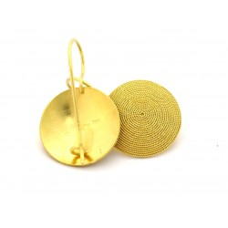 Sardinian filigree earrings disc, corbula, 18 kt gold