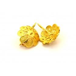 Botón de oro de Cerdeña aretes de filigrana