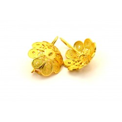 Button Sardinian gold filigree earrings