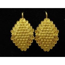 Aretes de filigrana de plata dorada de Cerdeña