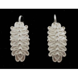 Earrings filigree silver pivot, long leaf